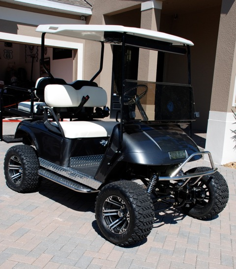 Ez go electric golf cart w lift kit and major upgrades jkowners golf cart with lift kit and real suspension attachment 53409 solutioingenieria Choice Image
